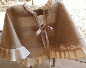 French Grainsack Ruffled Natural Burlap Christmas Tree Skirt