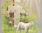 RESERVED LISTING (KS) Embossed Vintage Easter Postcard Small White Lamb Floral Decorated Cross – A Joyful EasterTide