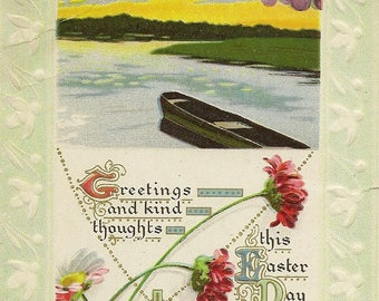 Embossed Antique Easter Postcard Row Boat on Calm Water Easter Verse Daisies and Carnations 1912