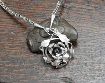 Hand Forged Silver Rose Necklace, a unique solid Sterling silver rose pendat on a hand knit chain