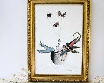 Folklore inspired hare rabbit sat in an eggshell sailing across the sky with red butterflies illustration art print A4