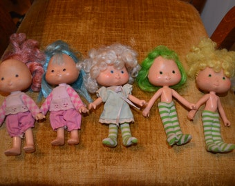 Vintage Strawberry Shortcake Action Figure Dolls, Lot of 5, 1980's