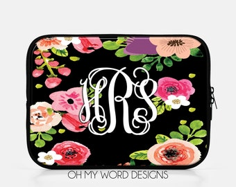 Monogram IPad Sleeve-Water Color Flowers-Neoprene IPad Sleeve-IPad Accessories-Monograms-Gifts-Personalized IPad Sleeve
