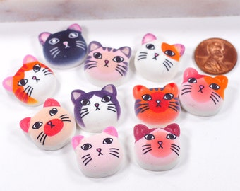 10~20 pcs 23x23mm Cute Cat Kitty kittens Face Mixed Styles Kawaii Flatback Resin Cabochons H07