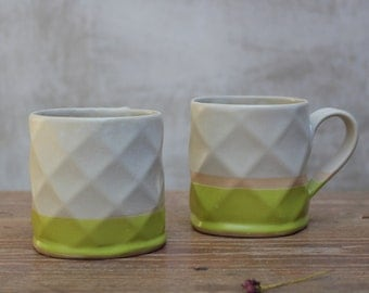 smooth textured coffee mugs in green and cream for coffee lovers