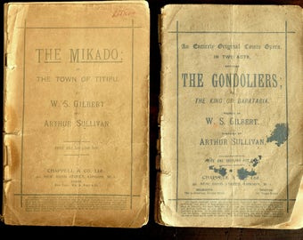2 x VINTAGE Gilbert & Sullivan comic opera scripts - The Mikado and The Gondoliers