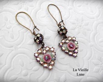 Pink Victorian Earrings, Rhinestone Heart Earrings, Crystal Jewel Earrings, Victorian Jewelry