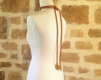 camel tan brown leather braided belt necklace by Tuscada. Ready to ship.