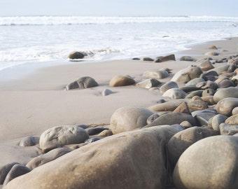 "Beach Stones, Beach Photography, Coastal Decor, Seascape, Beach Shoreline, Coastal Print, Nature Landscape Wall Art, ""Beach Stones"""