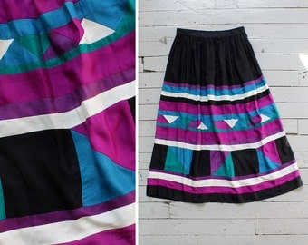 Geometric Pattern Patchwork Skirt M • 80s Skirt • Black Midi Skirt • Flowy Skirt • Tea Length Skirt • High Waisted Skirt Made in USA | SK646
