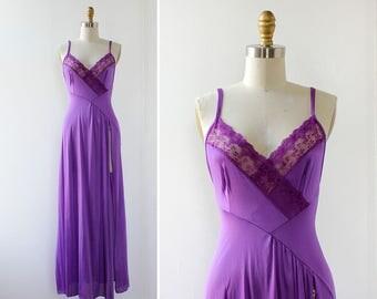 Purple Nightgown S • Vintage Lingerie • Vintage Slip Dress • Vintage Nightgown • Purple Lingerie • Slit Dress • Long Nightgown | D1239