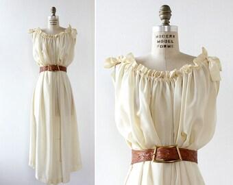 40s Dress • White Silk Dress • Gris Lingerie  Flowy Dress • Boho Dress White • Silk Midi Dress • Silk Dressing Gown • Bow Dress | D1046