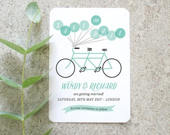 Bicycle 'Save the Date' Card / 'Tandem Bicycle' Fun Cycling Bike Wedding Announcement / Aqua Blue / Custom Colours Available / ONE SAMPLE