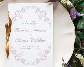 Romantic Calligraphy Wedding Program / 'Victorian' Pocket-sized Order of Service Mass Booklet / Lilac Gold / Custom Colours / ONE SAMPLE
