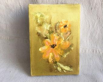 Vintage original flower oil painting  small cottage flower painting  yellow flower painting