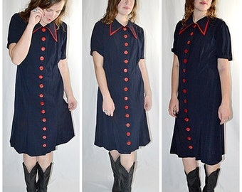Vintage 1940s Dark Navy Wool Day Dress With Red Trim and Buttons  Sz M