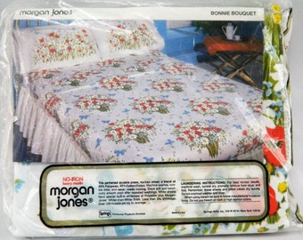 Vintage New Old Stock Morgan Jones Floral Butterfly Double Flat Sheet Cotton/Polyester Muslin USA