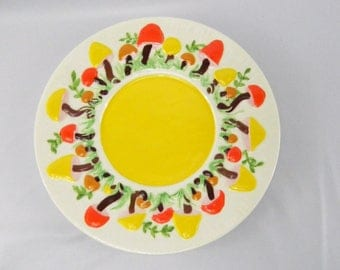 Vintage Arnel's Mushroom Plate 11 Inch Charger Hand Painted 1970s Orange, Yellow