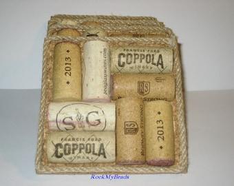 Wine Cork Coasters-Set of 4,cork coasters,wine lovers,housewarming gift,wine themed event,corks,wine corks,wine accessories,wine coaster