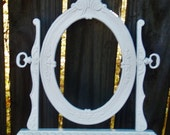 Faux Vintage Bright White Ornate Tabletop Frame Shabby Chic Cottage Decor French Chic