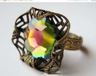 HOLIDAY SALE Vintage 50s Czech Gold Filigree Rainbow Prism Crystal Cocktail Ring