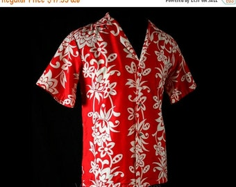 Men's Medium Aloha Shirt - 50s Red & White Classic Cotton Hawaiian Shirt - 1950s Reef Label - Made in Hawaii - Summer - Chest 42 - 40794-1