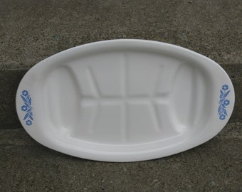 corning ware meat platter extra large blue cornflowers p-19 made in USA