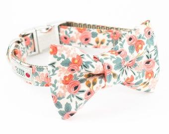Les Fleurs Rosa Floral Peach Dog Bowtie Collar - Rifle Paper Co.