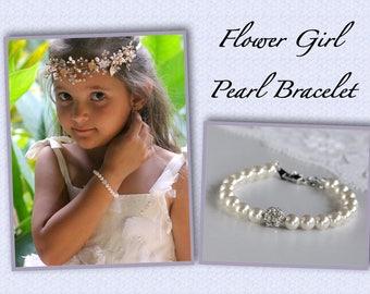 Flower Girl Pearl Bracelet, Swarovski Pearl & Crystal Bracelet, Pearl Junior Bridesmaids Bracelet, CARMEN 4