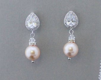 Champagne Blush Pearl Bridal Earrings,  Almond Blush Pearl Drop Earrings, Pearl Earrings, Wedding Jewelry, Bridesmaids Jewelry