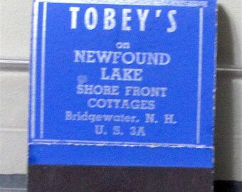 1940s Tobeys Cottages Newfound Lake Bridgewater NH US 3A Full Matchbook