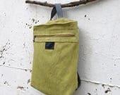 Green Canvas Backpack women, Satchel backpack purse, Green backpack, Laptop Backpack, Rucksack Backpack, vegan leather backpack women