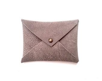 Minimalist Leather men Wallet in Gray, Slim Card Holder, Cash Card Holder, Simple men leather wallet, Gray and brown wallet for men