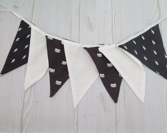 Black and white banner , fabric garland , fabric banner , black and white decor , black and white kids room