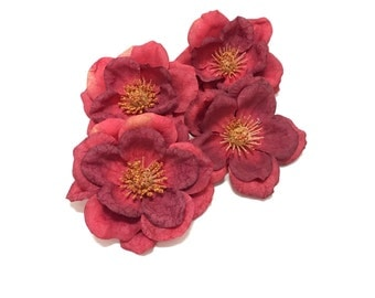 4 Red Artificial Magnolia Flowers - Silk Flowers, Artificial Flowers, Wedding Flowers, Millinery, Hair Accessories