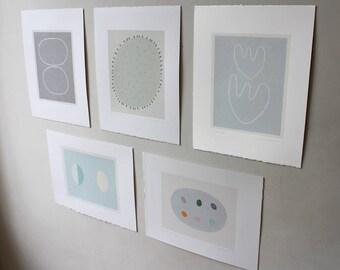 Set original minimal grey, blue, natural coloured organic modern abstract botanical screenprints. Feature wall art. Emma Lawrenson