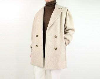 VINTAGE 1980s Womens Coat Beige Stripe Wool Short