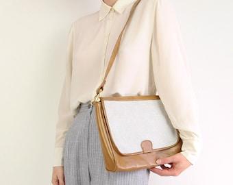 VINTAGE Purse White Mesh Patent Leather Shoulder Bag