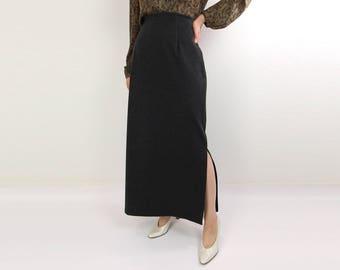 VINTAGE Grey Maxi Skirt High Waist Stretch 1990s
