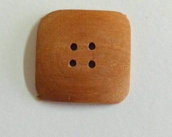 Handmade Wood Buttons 1 Inch Square Buttons Mahogany Wood Buttons Sewing Buttons Knitting Supply Handcrafted Wooden Buttons