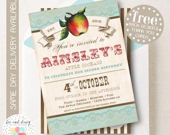 Apple Invitation, Apple Birthday Invitation, Apple Birthday Party, Apple Party Invitation, Apple of My Eye, Apple Orchard BeeAndDaisy