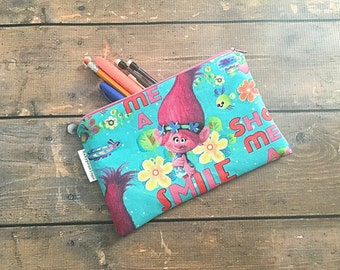 Pencil Case/Cosmetic Bag/ Gadget Case -  Trolls - Trolls Birthday Gift - Birthday Present - Christmas gift -  Inexpensive Christmas Gift