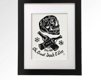 Murder Ballads: Billy Lyons. Hand pulled linocut print.