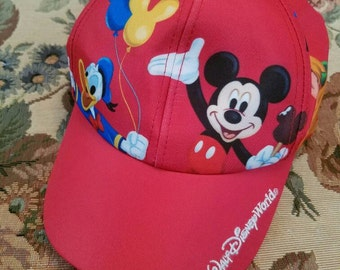 Vintage Mickey Mouse Baseball Cap Hat 1990s The Walt Disney World Goofy Pluto Donald Duck Made in Taiwan Infant Toddler Size Red