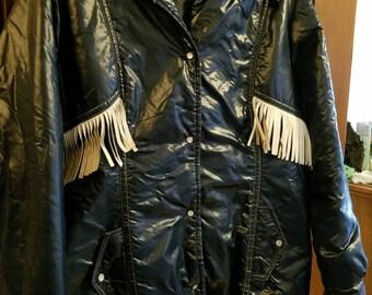 Vintage Aspen Skiwear Light Winter Coat 1970s Winter Outerwear Blue with White Leather Fringe Zipper Snaps Hood Blue