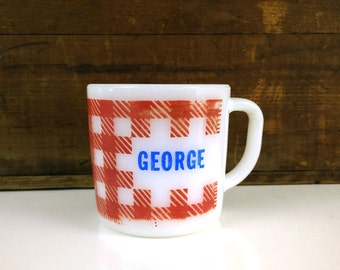 Vintage Federal Milk Glass Mug / Personalized Name Coffee Cup / George