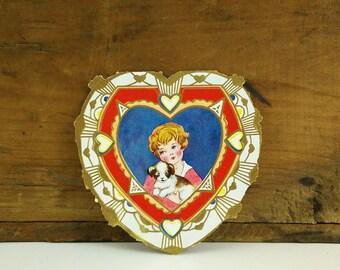 Vintage Die Cut Valentine's Day Card - unused