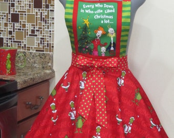 The Grinch Inspired Apron - Every who down in who-ville liked Christmas A lot