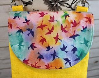 Polly Cross Body Pouch - Tie-dye bright birds