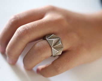 Geometric Prism Solid 3d Printed Ring- Stainless Steel